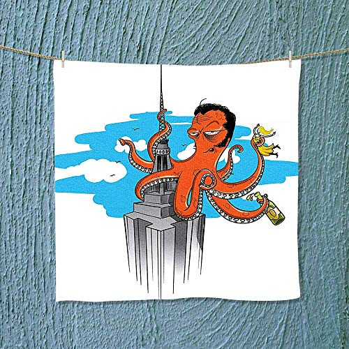 Analisahome Quick Dry Towel Collection Retro Cartoon Octopus Illustrated as King Kong on Empire State Building and Lightweight, High Absorbency W19.7 x W19.7 inch