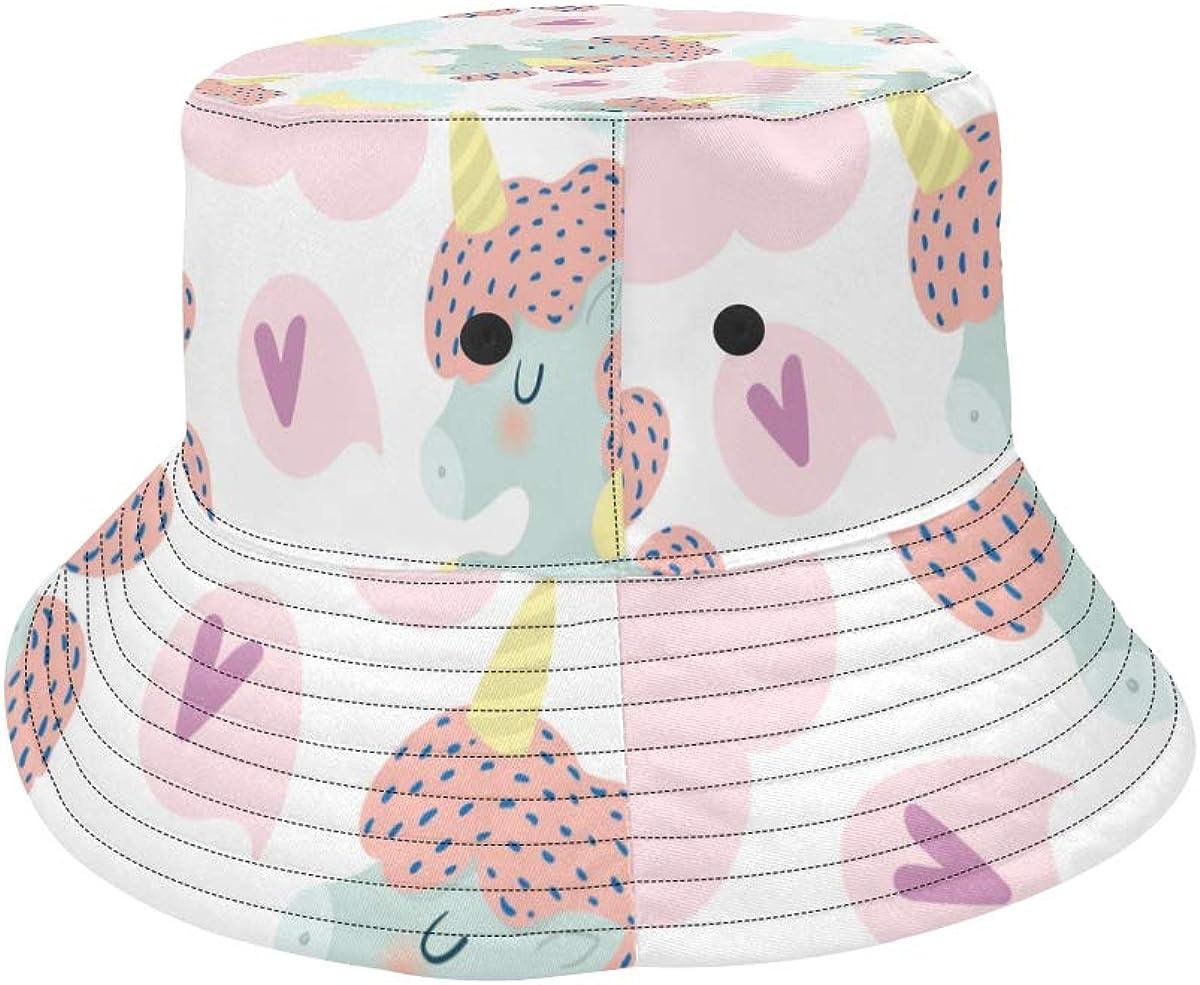 Top Hats Summer Cool Bucket Hat Kawaii Cute Unicorn Moon Cotton Outdoor Hats Travel Rain Picnic Caps for Teens Mens