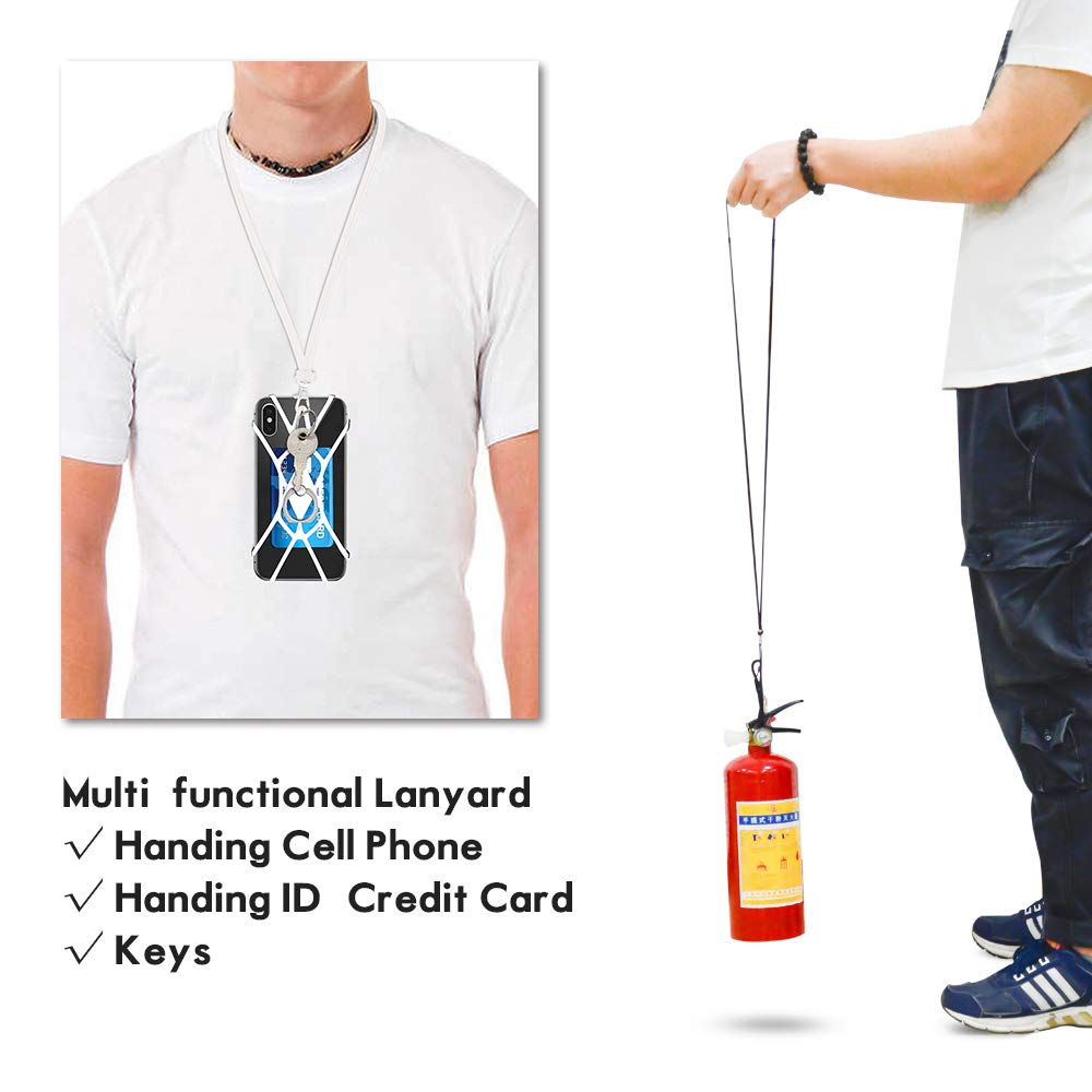SHANSHUI Cell Phone Lanyard White Silicone Case Phone Finger Stand Stretchy Holder with Detachable Neck Strap Compatible with iPhone X XS SE 5s 5 6 7 8 Plus and Most Smart Phones