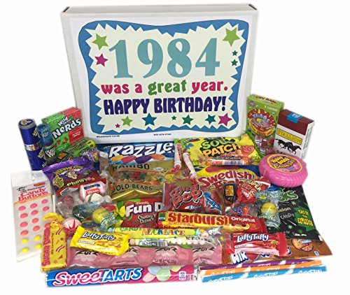 Woodstock Candy 1984 34th Birthday Gift Box of Retro Nostalgic Candy from Childhood for Men and Women