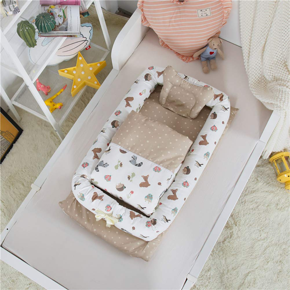 Baby Bassinet for Bed - Portable Baby Lounger - Breathable & Hypoallergenic Baby Bed - 100% Cotton Portable Crib for Newborns 0-24 Months Animal by JHion