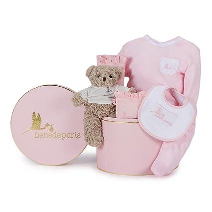 Canastilla regalo bebé en Caja Vintage Clásica Esencial con Osito BebeDeParis-Rosa- set regalo recién nacido