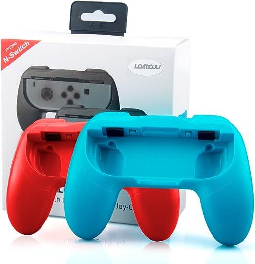 Lammcou Mandos para Switch Empuñaduras Controlador de Joy-con para Mario Kart,Super Mario Odyssey,Just Dance 2018,Fifa 18 Handle Kits para NS Switch Juego,Rojo & Azul(2-pack,Red and Blue): Amazon.es: Electrónica