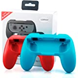Games Controller Joy-con Grip Kits for Nintendo Switch, Lammcou Ergonomic Wear-resistant Comfort Thumb Grip Handheld Protective Case Universal for All Nintendo Switchs (2 Pack, Blue and Red)
