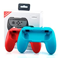 Joy Con Grip for Nintendo Switch Joy-Con Controllers, Lammcou Ergonomic Switch Controller Grip Handle Comfort Thumb Grip Holder Handheld Protective Case Pair Neon Red & Blue Switch Joycon Grips for Nintendo Switch Game Console Accessory Kits - 2 Pack