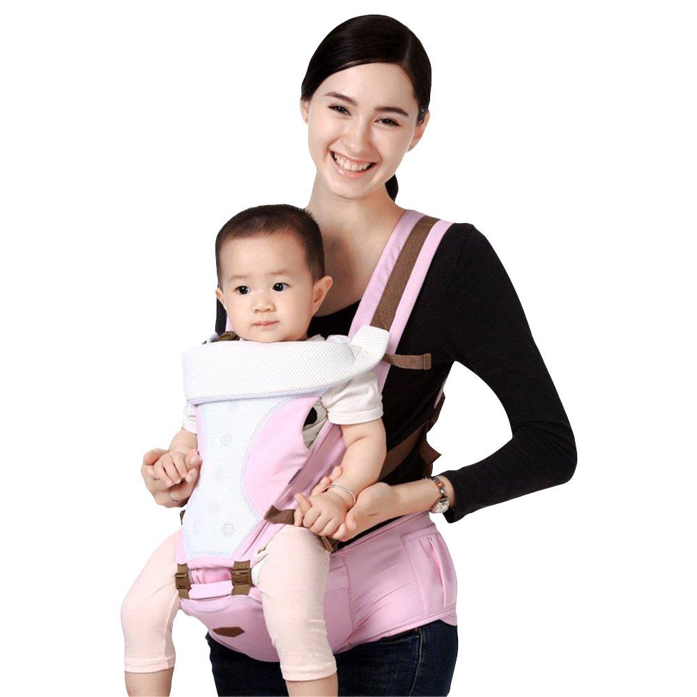 ShakeLady 5 in 1 Adjustable Baby Infant Front & Backpack Carrier Soft Sling Hip Seat Mom Walk Carrier (Pink)