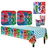PJ Masks Birthday Party Pack for 16 with Plates, Napkins, Cups, and Table cover