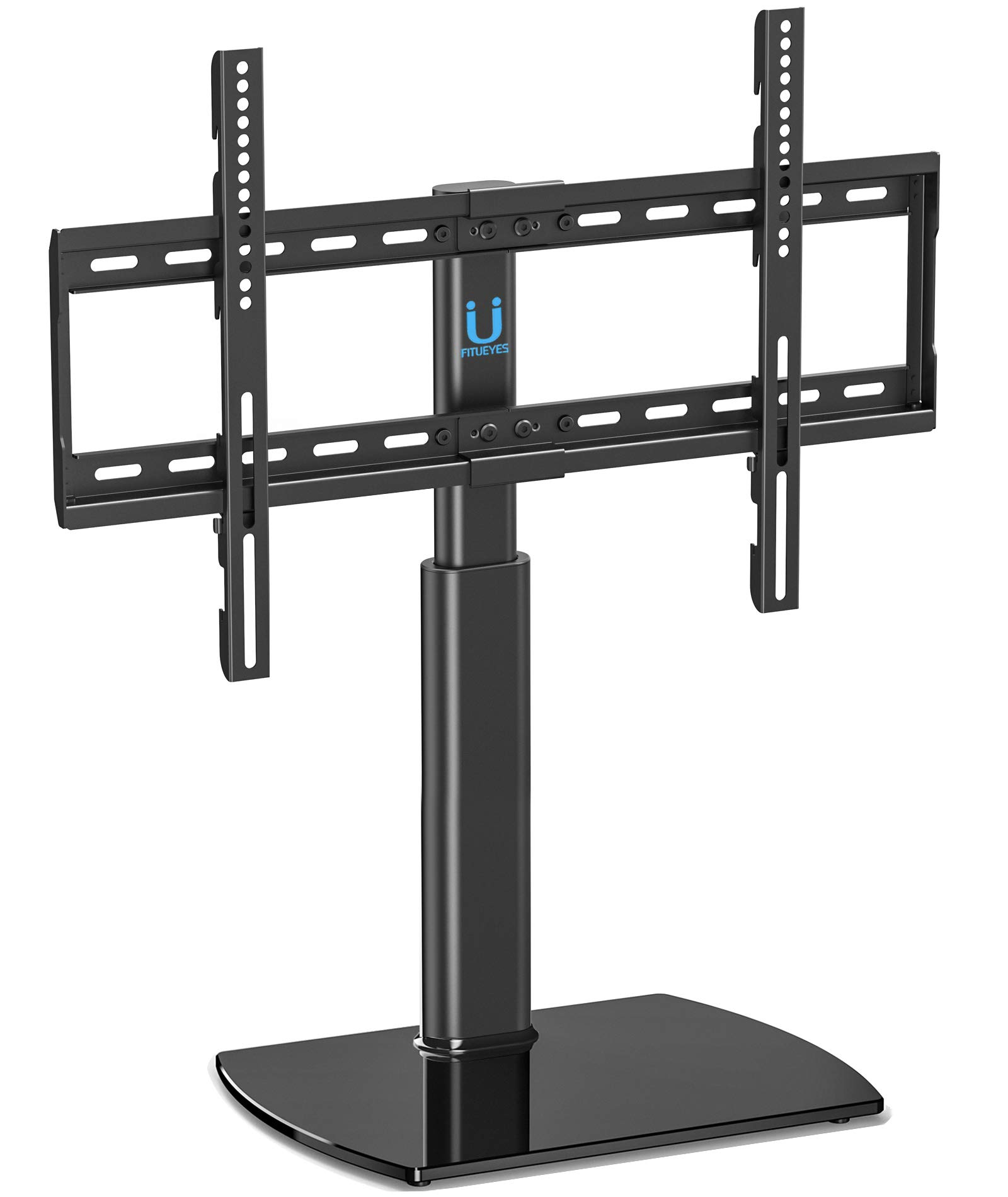 Fitueyes Universal TV Stand/Base Swivel Tabletop TV Stand with Mount for 32 to 65 inch Flat Screen TV 80 Degree Swivel, 3 Level Height Adjustable,Tempered Glass Base,Holds up to110 lbs Screens by FITUEYES