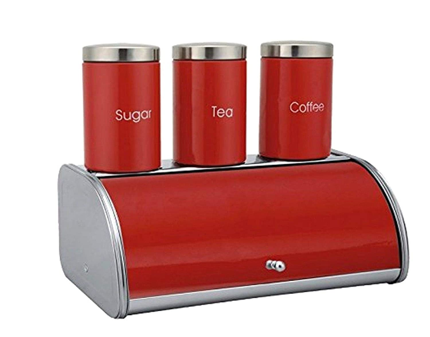 4pc Stainless Steel Large Bread Bin, Tea, Coffee & Sugar Storage Canisters Jar Set Elegant Metallic Roll Top Bread Bin & Caddy Tins Canister Pots Contemporary Home And Kitchen Storage Set Countertop Decoration Gift – 4 Colors (Black) Bargains Hut