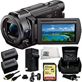 Sony 4K HD Video Recording FDR-AX33 Handycam Camcorder + 32GB Bundle 9PC Accessory Kit Includes SanDisk Extreme 32GB UHS-I/U3 SDHC Memory Card (SDSDXN-032G-G46) + 2 Extended Life Replacement FV-70 Batteries + AC/DC Rapid Home & Travel Charger + Carrying C