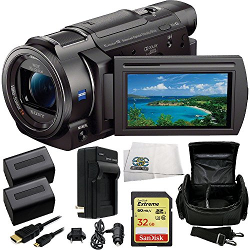 Sony 4K HD Video Recording FDR-AX33 Handycam Camcorder + 32GB Bundle 9PC Accessory Kit Includes SanDisk Extreme 32GB UHS-I/U3 SDHC Memory Card (SDSDXN-032G-G46) + 2 Extended Life Replacement FV-70 Batteries + AC/DC Rapid Home & Travel Charger + Carrying C by SSE