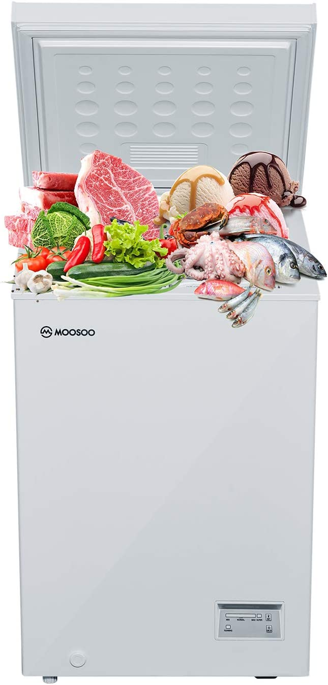 MOOSOO Chest Freezer 3.5 Cubic Feet with Removable Basket, Deep Compact Freezer for Garage/Kitchen/Basement/Dorm/Apartment, with Temperature Setting, Energy-saving/CSA Certified, White