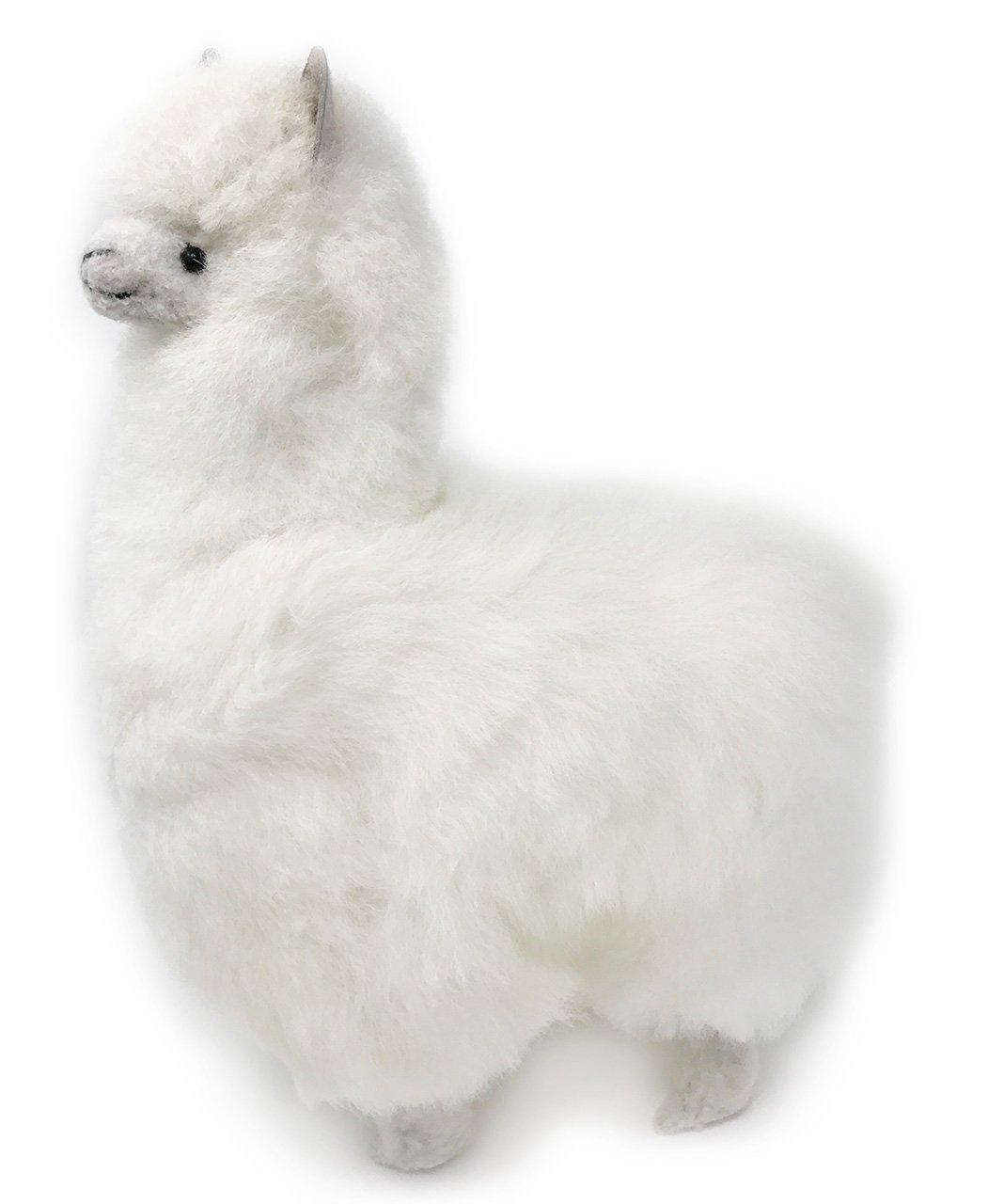 Standing Alpaca Fur Alpaca Adult Figure - White 12 Inch by Inca Fashions