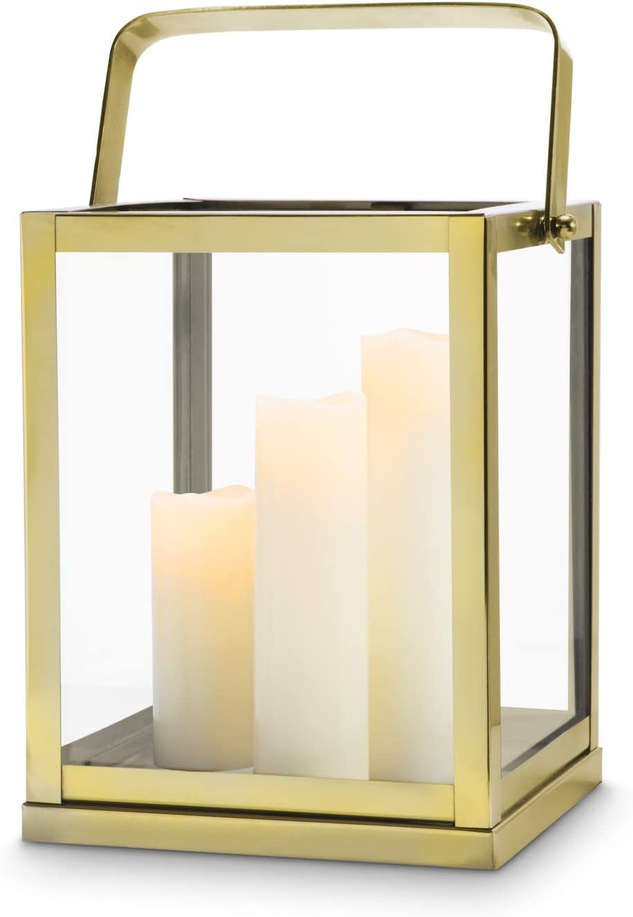 Lamplust Gold Lantern Candle Holder Centerpiece 11 Tall Glass Paneled Geometric Square Shape Decorative Lantern For Wedding Decor And Table Decoration Home Kitchen