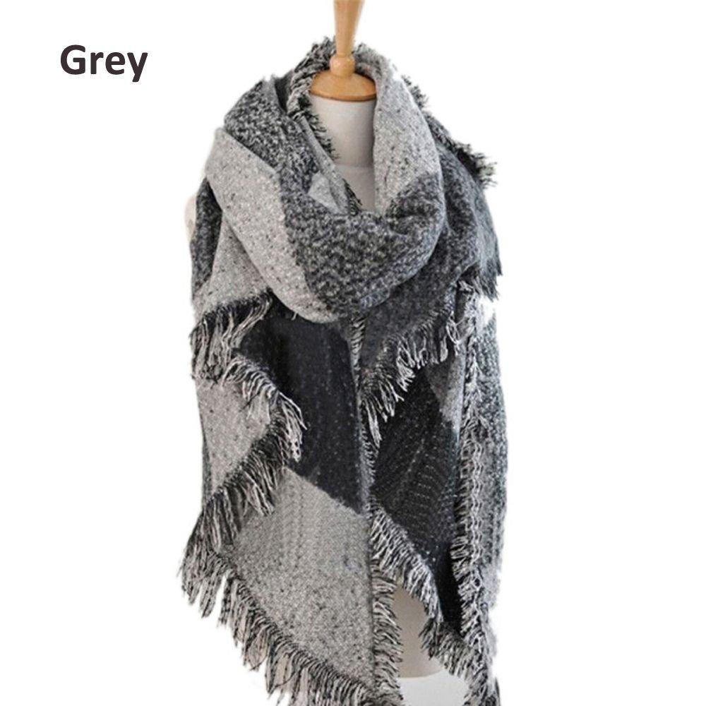 Xinnyuan Women Winter Warm Plaid Shawl Female Scarf Cashmere Tassel
