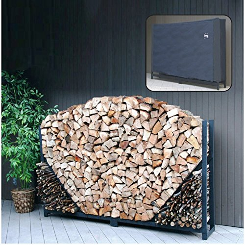 (Shelter It Straight Firewood Log Rack with Kindling Wood Holder and Waterproof Cover, 4', Black)