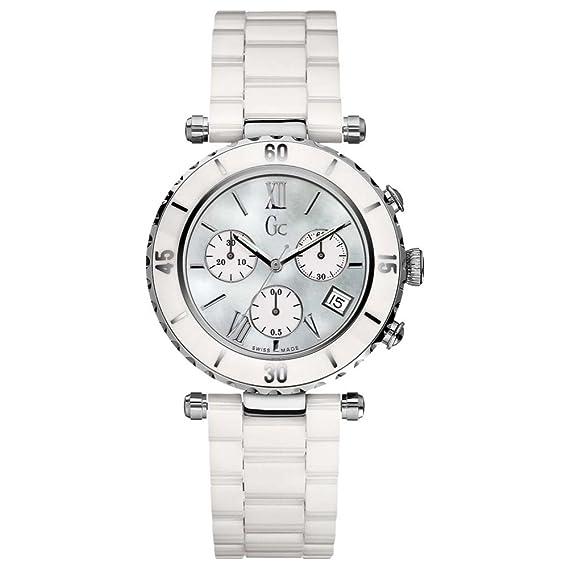 Gc Guess Collection Diver Chic Chrono - Reloj de Cuarzo para Mujer, con Correa de cerámica, Color Blanco: Amazon.es: Relojes