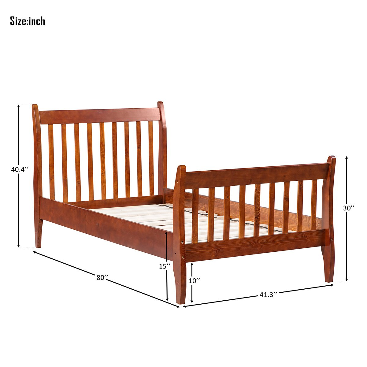Merax with Wood Slat Support, Twin (Walnut.) Platform Bed Frame Mattress Foundation by Merax (Image #3)