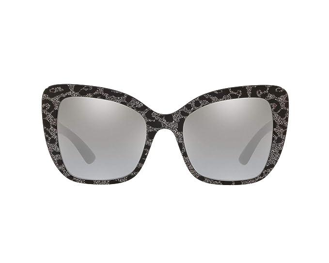 Dolce & Gabbana 0DG4348 Gafas de sol, Leo Glitter Black, 54 ...