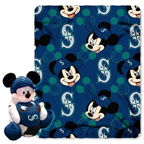 Officially Licensed MLB Seattle Mariners Pitch Crazy Co-Branded Disney's Mickey Hugger and Fleece Throw ()