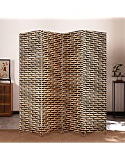 Room Divider Home Office Bedroom Wooden partition and Privacy Screen, 4-Panel Wood mesh Woven Design,Foldable and Portable