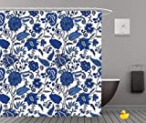 Shower Curtains 2.0 by iPrint,Pe9489_Seamless Pattern With Fantasy Flowers Natural Wallpaper Floral Decoration Curl Illustration 01,Bathroom Accessories,Waterproof Bathroom Shower Curtain Set with Hoo