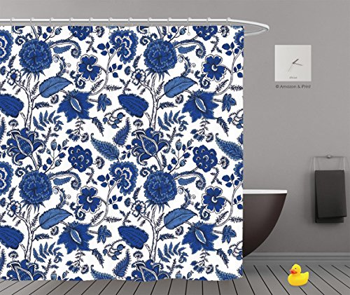 Shower Curtains 2.0 by iPrint,Pe9489_Seamless Pattern With Fantasy Flowers Natural Wallpaper Floral Decoration Curl Illustration 01,Bathroom Accessories,Waterproof Bathroom Shower Curtain Set with Hoo (Flowers To Give After A Death)