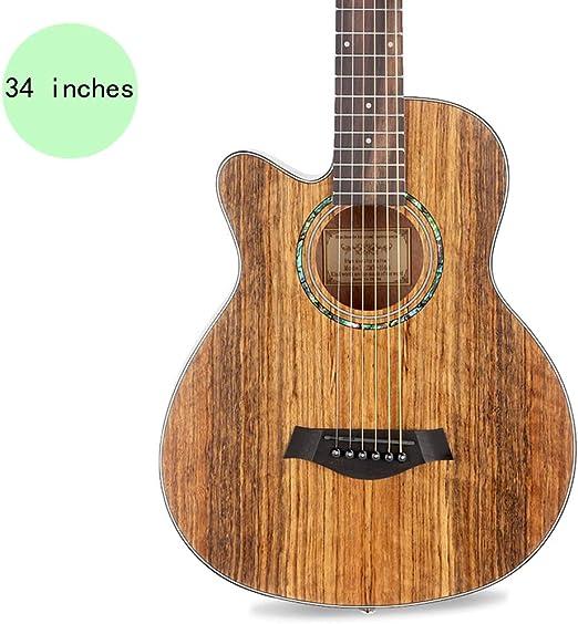 YJFENG Zurdo Guitarra Acústica,Cuerda De Acero Superficie Mate ...
