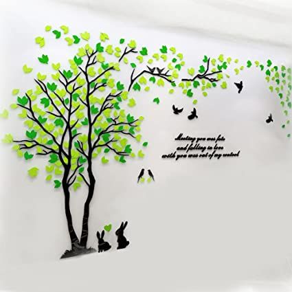 Amazon.com: Double Tree Wall Mural Decals for Bedroom Living Room ...