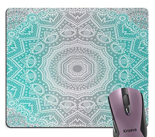 Knseva Retro Mandala Design Grey Turquoise Mouse Pad, Primitive Ancient Essence and Universe Harmony Mandala Ombre Art Mouse Pads for Computers