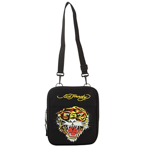 39e8446633af Image Unavailable. Image not available for. Color  Ed Hardy Caprio Tiger  Messenger Bag - Black
