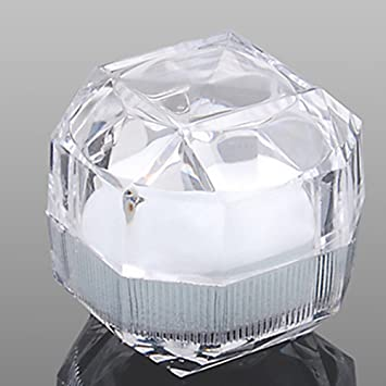 2pcs Transparent Acrylic Ring Box Earrings Jewelry Crystal Storage