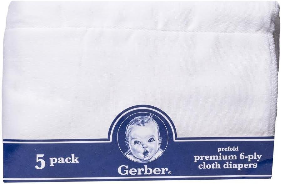 Gerber Prefold Premium 6-Ply Cloth Diapers 5-Pack