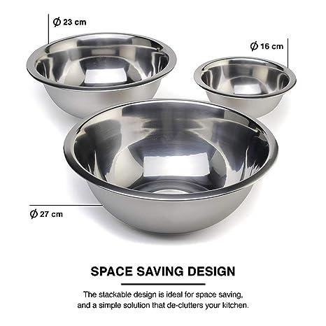 Set de 3 bols para mezclar bol de metal que se puede hornear para Cocina cocinar hornear - Hecho en Europa