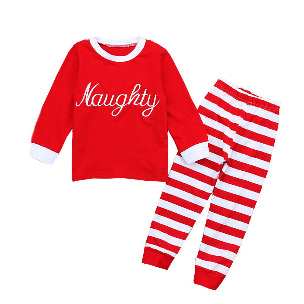 Baby Boys Girls Christmas Pajamas Set Nice Naughty Long Sleeve Top Stripe Pants