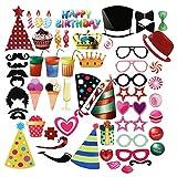 PBPBOX Photo Props for Birthday 56PCS