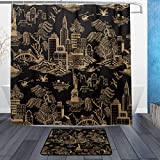 Black Toile Shower Curtain DJROW New York Toile Black Shower Curtain and Bath Mat Set,Includes 72