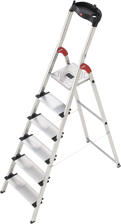 Hailo 5_8815-001 Seguridad Stepladder ProfiStep XXL Alu 5 pasos, gris: Amazon.es: Bricolaje y herramientas