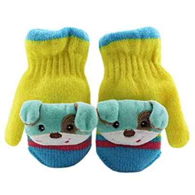 1 Pair Children's Winter Gloves Soft knitted&Warm Mittens (3-6 Years) Dog Yellow
