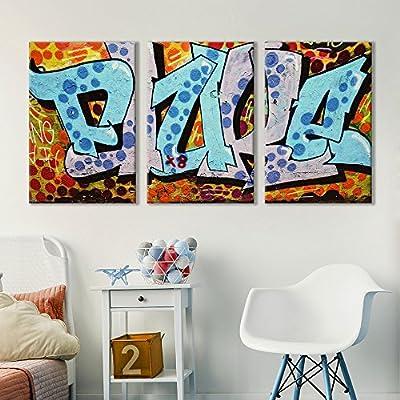 3 Panel Canvas Wall Art - Triptych Street Graffiti Series - Fluke - Giclee Print Gallery Wrap Modern Home Art Ready to Hang - 16