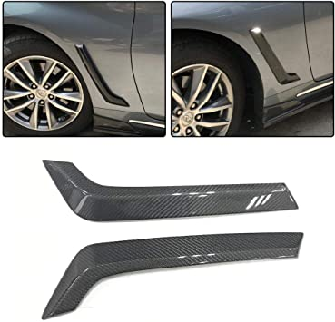 JC SPORTLINE Fits for Infiniti Q50 Sedan 2014-2019 Carbon Fiber Door Side Fender Vents Trims Frame Air Intake Molding Cover
