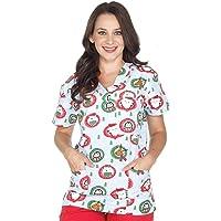 Women's Christmas Nurses Medical Scrub Top