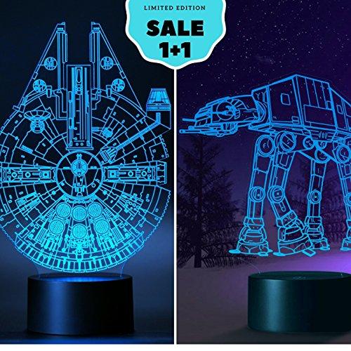 Set Of 2  The Millennium Falcon Set Light   At At Star Wars 3D Light 75105 Bedroom Lights Decoration