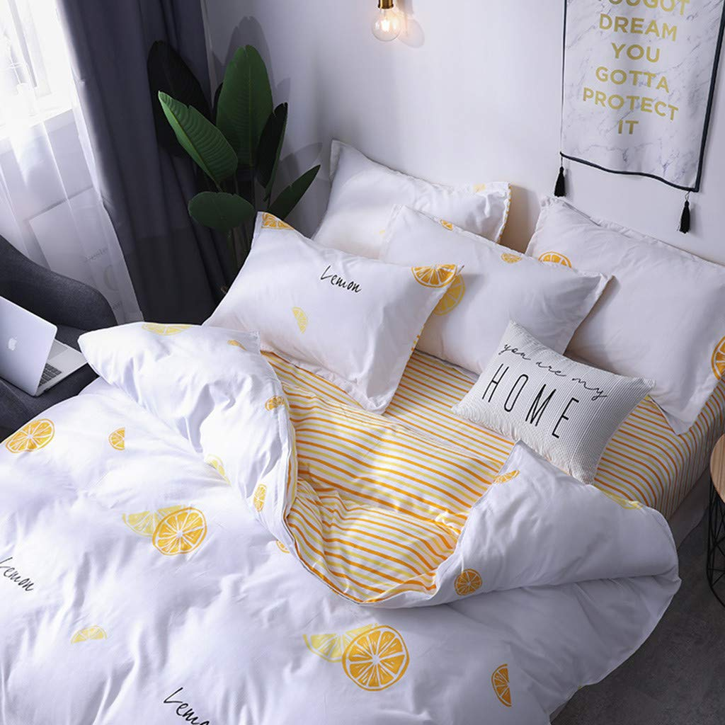 Beyonds Skin-Friendly Cotton Velvet 3 Piece Bed Set Lemon Yellow Pattern Three Bed Set for Deeper Sleep Includes x1 Duvet Cover x2 Pillowcases - Home School Bed Decor by Beyonds