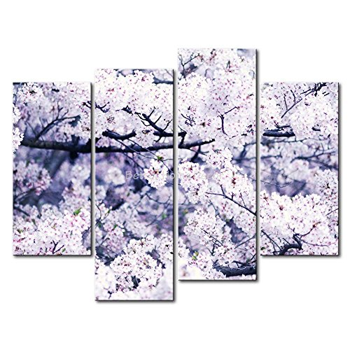 Yeho Art Gallery Painting Pink Cherry Blossoms In The Tree Print On Canvas The