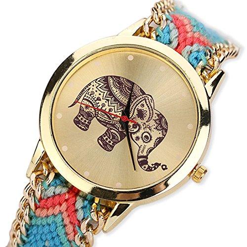 Transparent Dial Faux Leather Wrist Watch (Blue) - 9