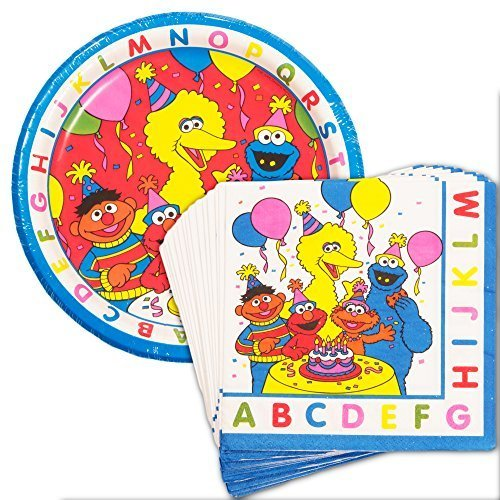 Sesame Street Party Plates and Napkins Set (Party Supplies -- 8 Plates and 16 Napkins Featuring Elmo, Cookie Monster, Big Bird and (Baby Sesame Street Party Supplies)