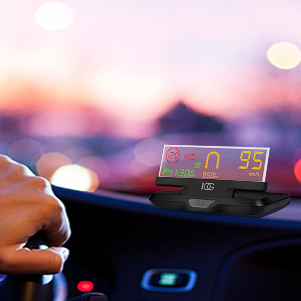 Car HUD IOG G2n 4.1 inch Head Up Display,with Navigation,Measure Driving Speed,Display KM/h MPH,Driven Mileage,Water Temperature,Compatible with OBDII System Model Cars Interface Plug & Play