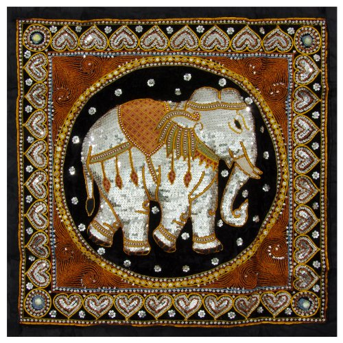 Embroidered Tapestry Fabric Wall Hanging (Oriental Furniture Burmese Elephant Tapestry Wall Hanging)