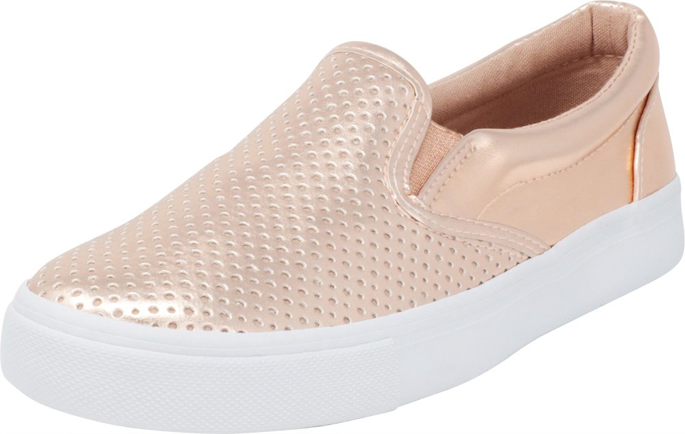 Cambridge Select Women's Slip-On Closed Round Toe Perforated Laser Cutout White Sole Flatform Fashion Sneaker B07F9FFZYC 9 B(M) US|Dark Penny Pu/White Sole
